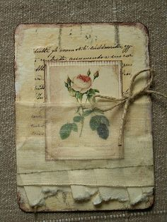 like the burlap and vintage look Paper Art, Paper Crafts, Mixed Media Cards, Collage, Atc Cards, Artist Trading Cards, Vintage Tags, Shabby, Journal Covers