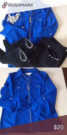 Gorgeous Cobalt blue Michael Kors blouse❤️ This a is beautiful blouse Cobalt blue great with black jeans and a little bling💕zippered front and two front pockets💕Gorgeous💕 KORS Michael Kors Tops Blouses