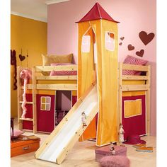 Pink and Lilac Tent Mid Sleeper Bed Frame with Slide