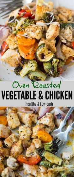 Oven Roasted Vegetables with Chicken is vegetables, chicken tossed in butter, Italian seasoning and roasted until charred and tender. Roasted vegetables are super easy to make and healthy too. Roasted Vegetables With Chicken, Roasted Vegetable Recipes, Oven Roasted Chicken, Oven Chicken, Roasted Vegetables Seasoning, Oven Roasted Vegetables, Vegetables In The Oven, Chicken And Vegetable Bake, Roast Chicken Dinner