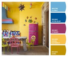 Eclectic Kitchen Mexican Style Decor, Mundo Hippie, Mexican Interior Design, Yellow Accent Walls, Rainbow Kitchen, Living Room Update, Interior Paint Colors, Layout, Kitchen Colors