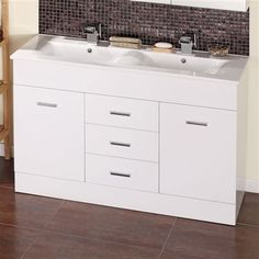 Double vanity unit with top mounted wash basins Double sink
