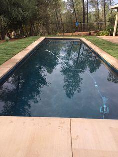Ocean Blue Pebblesheen lap pool 14x42. Eight feet deep.