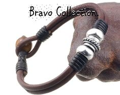 3AB-376 Bravo & Co. Sterling Silver Leather Tigers Eye Stone ANKLET Men Bracelet