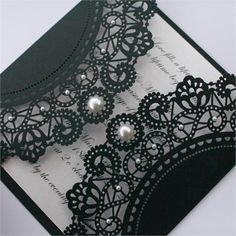 vintage style black lace doily invitation
