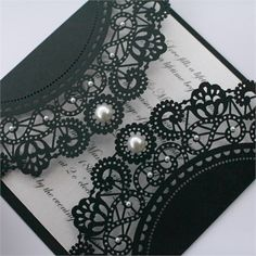 vintage style black lace doily invitation (maybe a cream color instead)