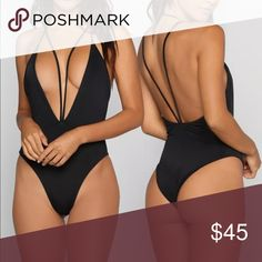 One Piece Bathing Suit deep V swimsuit.. brand new.. summer is around the corner! Swim One Pieces