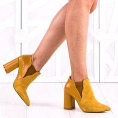 Botine Dama Madilyn Galbeni Heeled Mules, Booty, Ankle, Heels, Fashion, Sandals, Heel, Moda, Swag