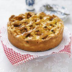 Se trata de una tarta de manzana.  Es de Holanda.  hay manzana en.