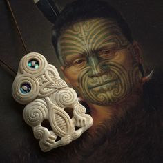 New Zealand Maori Bone Ariki Hei Tiki - Maori Bone Pendant - 80mm x 45mm, US$60