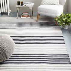 Colorstep Stripe Cotton Dhurrie Rug Black Stone White On