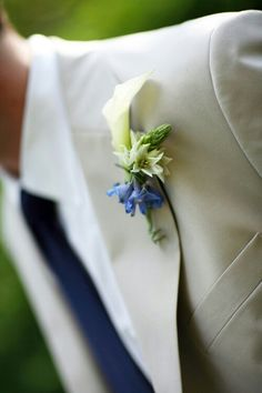 White Calla Lily & Blue Delphinium Bouttoneire***