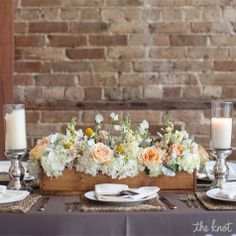 Head Table Décor - Use a flower box to place bouquets in for head table arrangement.