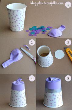 étapes de fabrication du lanceur de confettis