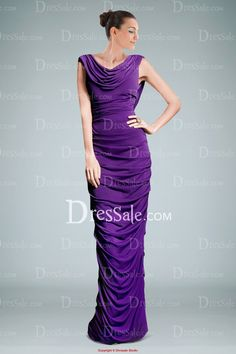 Fashionable Pleated Sheath Evening Gown Featuring Cowl Neckline and Back......But DEF NOT purple