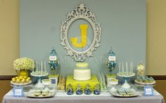 Blue-Grey+Yellow Baby Shower. Pinned for BabyBump, the #1 mobile pregnancy tracker with the built-in community for support and sharing.