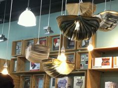Open books hanging with lightbulbs. How?? What kind of sorcery is this???