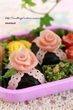 Rose and lase Rice balls made ​​with ham