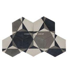 Cement Tile Shop - Handmade Cement Tile | Rosen Hex Pattern. Arrange in multiple directions for different patterns!