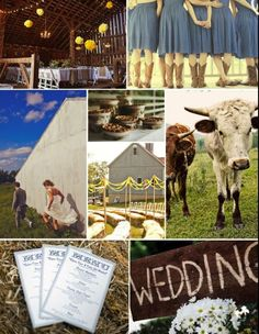 Country Wedding Ideas, check out the girls in blue.dresses and brown boots!!!