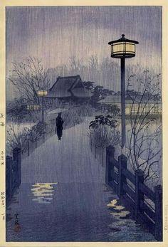 Shiro KASAMATSU, Rainy Night at Shinobazu Pond, 1938