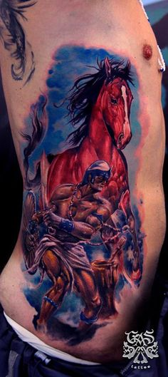 colored warrior with horse side tattoo - http://www.cuded.com/2015/12/40-awesome-horse-tattoos/