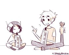 Bloo Dad giving melodica lessons to little Pasta. Based on personal experiences -u- #BlooDad #2D #N