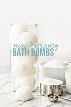 Recipe for DIY Moisturizing Beauty Bath Bombs to Soothe Dry, Itchy Winter Skin and Feet. These make a great idea for homemade gifts. Features coconut oil, vitamin e oil, epsom salt, and baking soda. @goodlifeeats www.goodlifeeats.com