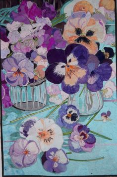 Pansies in a Vase: art quilt by Melinda Bula