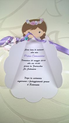Invito comunione o Battesimo angelo bimba - Feste - Biglietti e inv... | su MissHobby First Communion Party, Twinkle Twinkle Little Star, Scrapbook Albums, Christening, Party Themes, Birthday Parties, Arts And Crafts, Place Card Holders, Baby Shower