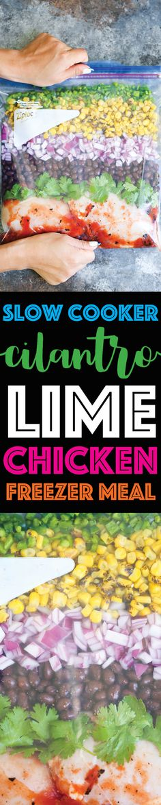 Slow Cooker Cilantro Lime Chicken (Freezer Meal) - Damn Delicious