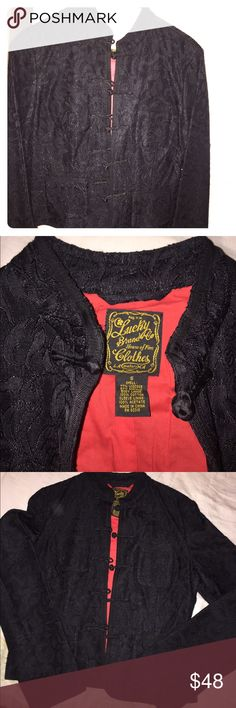 Lucky Brand Black Mandarin Blazer Women's Small Black Lucky Brand Women's Blazer. Very Good Condition. Pre-owned. No stains. Red interior. Lightweight. Lucky Brand Jackets & Coats Blazers