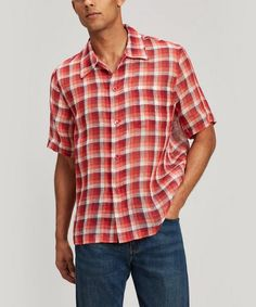OUR LEGACY NET CHECK SHORT SLEEVE BOX SHIRT. #ourlegacy #cloth Our Legacy, Holiday Looks, Scandinavian Design, Linen Fabric, Men Casual, Short Sleeves, Shirts, Mens Fashion, Moda Masculina