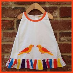Aboli Cotton Dress with Hand Embroidered Yellow/Orange Parrots; M