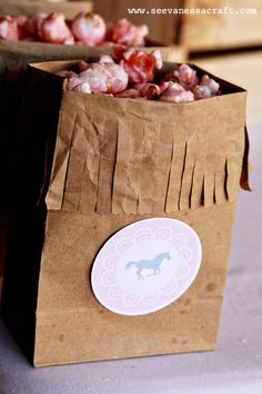 Fringed popcorn bags for Western kids party