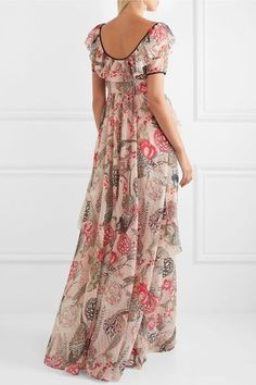 "GABRIELLE'S AMAZING FANTASY CLOSET | Temperley London's ""Shire"" Maxi-Dress in Tonal Pink Floral Swiss Dotted Chiffon (Back View) You can see the Front View and the rest of the Outfit and my Remarks on this board. - Gabrielle"