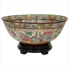 "Oriental Furniture 14"" Rose Medallion Bowl in Multicolor Small Accent…"