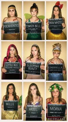 costume Disney Princesses Incarcerated - halloween-costumes -You can find Princesses and more on our costume Disney Princesses Incarcerated - halloween-costumes - Costume Princesse Disney, Disney Princess Halloween Costumes, Cute Group Halloween Costumes, Couple Halloween, Halloween Outfits, Disney Group Costumes, Funny Group Costumes, Costume Ideas For Groups, Disney Characters Costumes