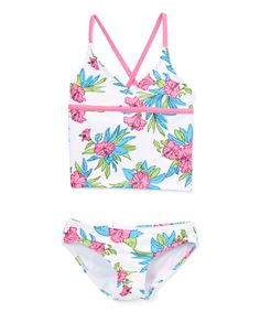White Krista Floral Tankini - Toddler & Girls