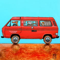 185 VW T3 CAMPER - Signed and numbered print of pets in a volkswagen camper T3 model