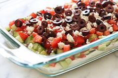 Greek 7 layer dip: - Great step-by-step photos how to cut & layer each vegetable.