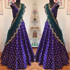 Beautiful royal blue color designer lehenga and blouse with buti design hand embroidery kundan work. 26 August 2017