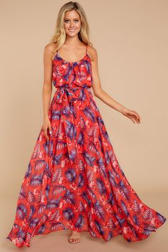 7f9fa2c83b Keep Things Going Red Floral Print Maxi Dress