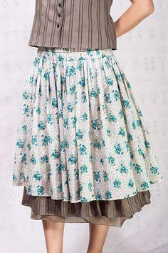 Midi flowered cotton boho skirt by SomDress on Etsy