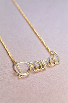 Custom Name Necklace Personalized Name Necklace 22k by DiAndDe