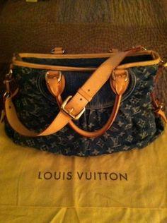 Louis Vuitton Blue Denim Mm Shoulder Bag $1,275