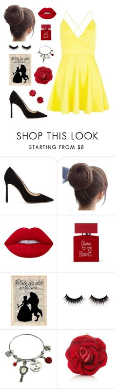 """""""Belle💛"""" by emma-be-awesome ❤ liked on Polyvore featuring Jimmy Choo, AX Paris, Lime Crime, Bella Freud, Disney, Judith Leiber and Kate Spade"""