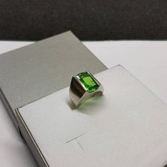 187 mm Ring Silber 925 Kristall grün edel Vintage Unikat