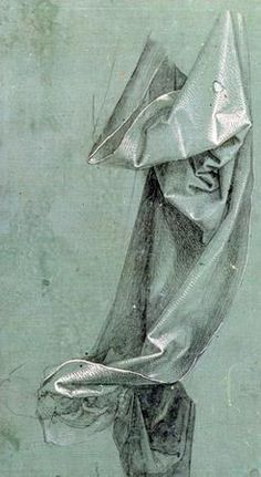 """Drapery Study (1528), by Albrecht Durer (1471–1528; German painter, printmaker, engraver, mathematician, and theorist from Nürnberg). """"Regarded as the greatest artist of the Northern Renaissance""""."""