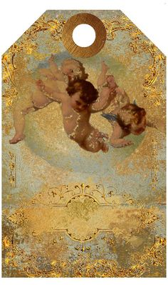 Printables Cherubs Gold Grunge Digital Download Gift Tag Card Tags, Gift Tags, Grunge, Ribbon Holders, Collage Sheet, Shades Of Green, Green And Gold, Note Cards, Digital Art